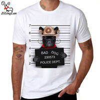 Bad Dog Pattern Funny Printed Men's T-Shirt Short Sleeve Top Cotton Tee White