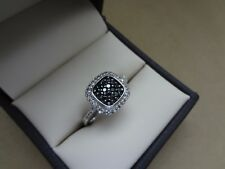 SPARKLING SUN STERLING 925 .15 TCW BLACK & WHITE DIAMOND PAVE HALO RING
