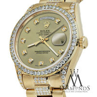 Rolex Yellow Gold Presidential Day Date Champagne Dial Diamond Watch 18KT Gold