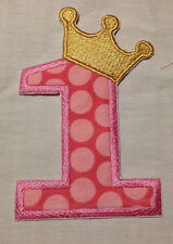 Embroidered Number 1 applique with Crown iron on /sew on patch