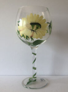"""HAND PAINTED YELLOW GREEN FLORAL 8 3/8"""" WINE GOBLET GLASS"""