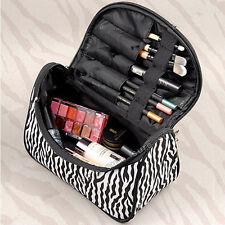 New Women Lady Makeup Cosmetic Case Toiletry Bag Zebra Travel Handbag Organizer