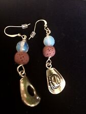 Cowboy Charm Dangle Earrings Lava And  Opalite Stone And Hypoallergenic Hook