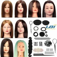 100% Human Hair Training Practice Head Hairdressing Doll + Clamp +Hair Braid Set
