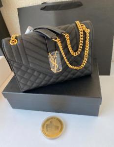 Yves Saint Laurent Monogram Envelope Chain Black Hand Bag For Women