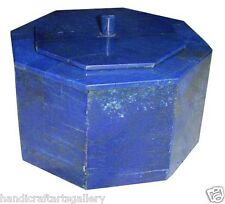 """6""""x6""""x4"""" Jewelry Ring Box Marquetry Lapis Gemstone Inlay Art Collectibles H2063"""
