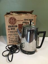 Vtg Retro General Electric Stainless 10-Cup Percolator Coffee Maker Peek a Brew