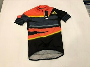 NWT $160.00 Adidas Mens Adistar Aeroready Cycling Jersey Orange/Black Sz LARGE