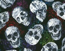 FAT QUARTER  FOLKLORIC SUGAR SKULLS 100% COTTON FABRIC GOTHIC HI FASHION FABRICS
