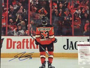 Autographed/Signed SHAYNE GOSTISBEHERE Philadelphia Flyers 16x20 Photo JSA COA