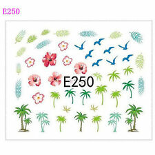Nail Art Water Decals Transfers Stickers Summer Palm Trees Flowers Seagulls E250