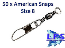 50 x AMERICAN SNAP FISHING SWIVELS SIZE 8 CARP COARSE SEA TACKLE