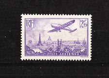 timbre france poste aérienne avion survolant Paris  num 10  2f25   violet     **