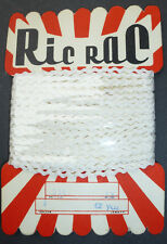 Striking Vintage Shop Display Card of 2mm white Ric Rac -12 yds of it.
