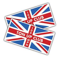 2x Ton up club union jack stickers, 90 x 46mm cafe racer, bike