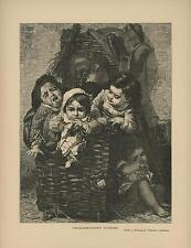 ANTIQUE ORPHANS CHILDREN CROQUEMITAINES PLUNDER TIMOLEON LOBRICHON OLD ART PRINT