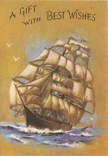 VINTAGE CLIPPER MAST SHIP SEA OCEAN SAVES SEAGULLS BEST WISHES CARD ART PRINT