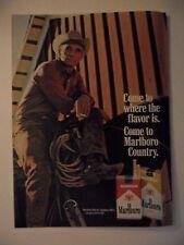 1969 Print Ad Marlboro Man Cigarettes Western Cowboy Lasso Break