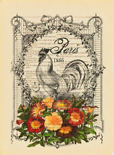 French Country Rooster & Flowers Shabby Chic DIGITAL Cross-Stitch Pattern Chart