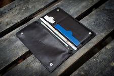 All Black Travel Case. Handmade leather wallet, passport travel holder mens