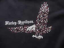Harley Davidson Women's Black Rhinestone Bling Eagle T-Shirt Tee Top SMALL S