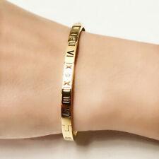 New 18K White / Rose Gold Filled Roman Numerals Crystal Bangle Bracelet Stunning