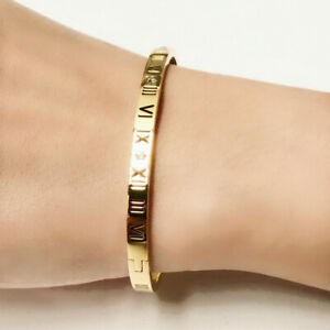 New 18K White / Rose Gold Filled Roman Numerals Crystal Bangle Bracelet Stunning