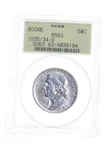 MS63 1935/34-D Boone Bicentennial Commemorative Half Dollar - Graded PCGS *5255