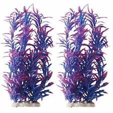 New listing Aquarium Plants Fish Tank Decorations 12inch/Tall Plastic Purple/Pair