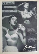 1954 women's Jantzen plus bra vintage gold compact fashion ad