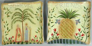 Susan Winget Square Plates Simple Heart Cracker Barrel Exclusive Retired 2008