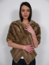 GENUINE MINK FUR STOLE CHAMPAGNE ASH BLONDE WRAP SHRUG BOLERO CAPE JACKET COAT