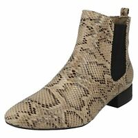 Spot On F5R0558 Ladies Beige Snake Ankle Boots (R21B)