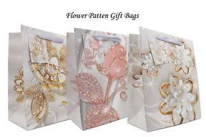 Glitter Flower Luxury Gift Bag (6 Pack) Birthday, Weddings, Party Bags, Baby Bag