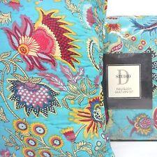 TEAL Paisley Floral QUEEN QUILT 4pc SET PILLOW STUDIO D Topango RED YELLOW BLACK