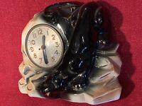 Antique MID CENTURY Modern Ceramic Panther Clock Electric