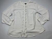 Talbots Large Petite L P Top Shirt Blouse Button Long Sleeve White Black Ruffle