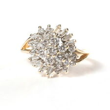 14k Diamond Burst Cluster Ring 1 CT TW Genuine Baguette & Round Diamond Size 6.5
