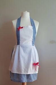 Wizard of oz Dorthy Fancy Dress Full Apron Blue Gingham/ White Cotton s/m/l/xl