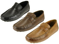 Base London Attwood Mens Casual Slip On Leather Loafer Shoes With Rubber Sole