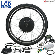 """48V 1000W Electric Bicycle eBike Motor Conversion Kit Front Wheel 26"""" LCD Meter"""