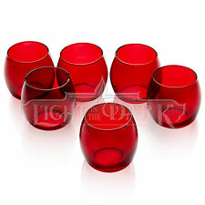 Red Glass Hurricane Votive Candle Holders With Set of 72