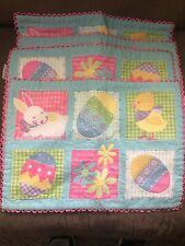 Set of 4 Easter Embroidered Placemats Pink Blue Green Bunny Eggs Flowers Holiday
