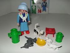 Playmobil #3007 Farm Series Milkmaid Cats Figure Woman Kitten Milk Complete Set