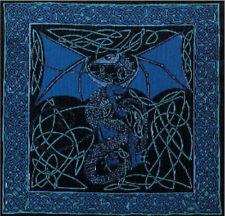 Handmade 100% Cotton Celtic Dragon Cushion Cover Shell 17x17 Blue
