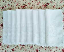 "9 Antique White Linen Napkins Lace Embroidery Cutwork Mono ""C"" 22 1/2: x 23"""