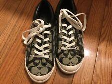 Coach Womens Francesca Shoes Sneakers Athletic Black Monogram Size 8 B