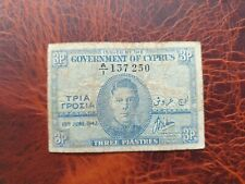 Old banknote from Cyprus 3 piastres 1943