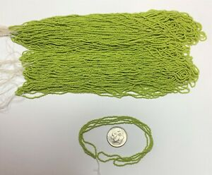 Rare Antique Micro Glass Seed Beads-16-18/0 Yellow-Green Lime Opaque Hanks