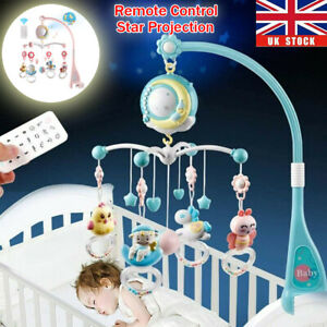 Baby Newborn Cot Bed Mobile Car Crib Buggy Musical Toy Light Projector Gift UK